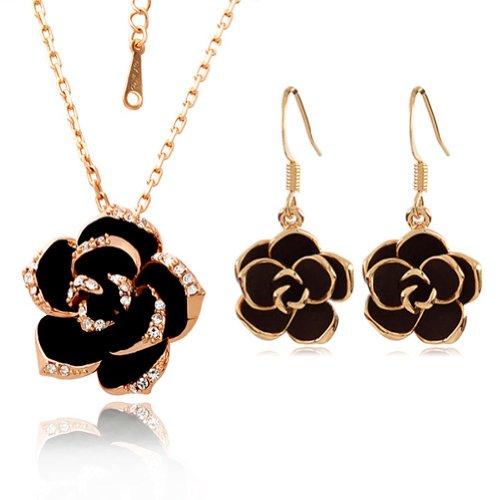 yoursfs-amazon-conjunto-collar-y-pendientes-colgante-de-flor-collar-y-pendientes-chapado-en-oro-negr