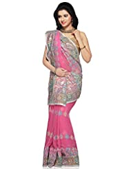 Utsav Fashion Women's Pink Faux Georgette Saree with Blouse - B00KV6R6QE