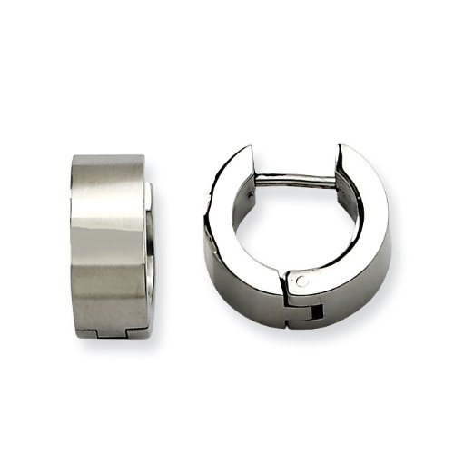 Stainless Steel Brushed and Polished Hinged Hoop Earrings - JewelryWeb