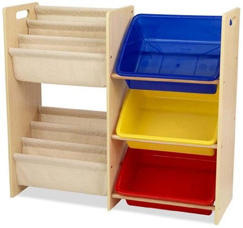 Buy kidkraft wooden sling bookcase with primary bins for Toy and book storage