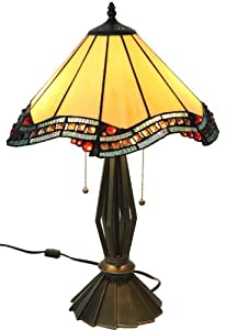 Amora Lighting Tiffany Style Citrine Table Lamp, 23.22 Inches