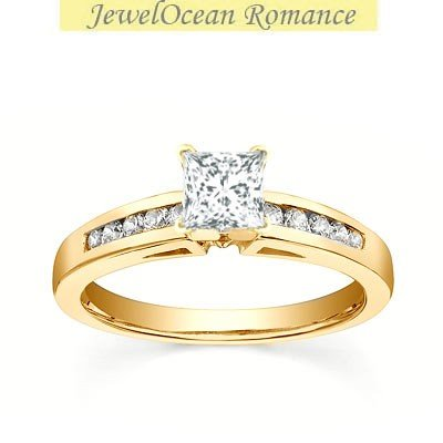 0.58 Carat Affordable Engagement Ring with Princess cut Diamond on 14K Yellow gold