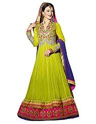 Stylelok Green Georgette Unstitched Anarkali Suit Sl 175012120