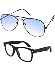 Unisex Uv Protected Combo Pack Of Aviator Sunglasses And Clear Wayfarer Sunglasses ( Black Shd Blue - Clear Black...
