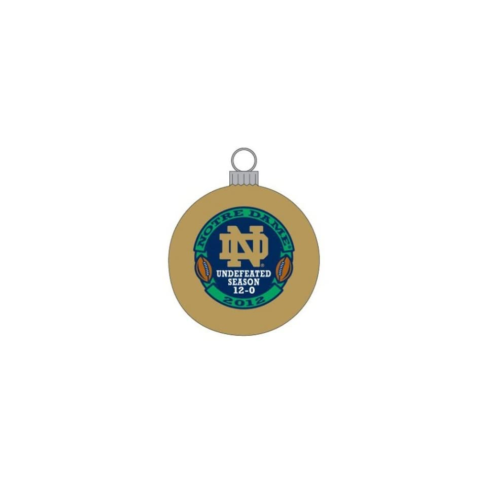 Notre Dame Fighting Irish NCAA Football Undefeated 12 0 Gold Christmas Ornament