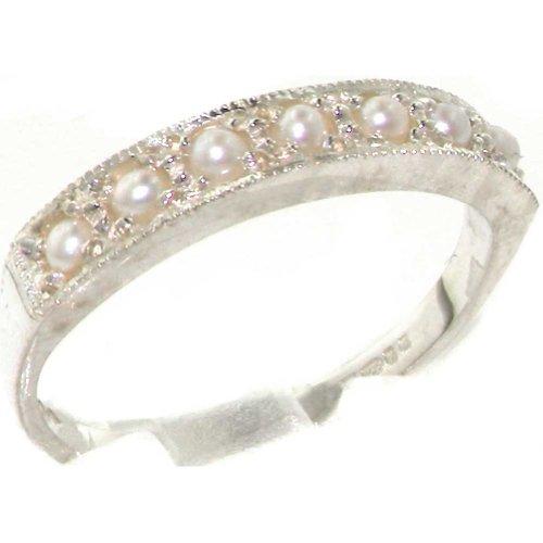 英国製 925 シルバー 淡水真珠 レディース ハーフエタニティ リング 指輪 サイズ 13 各種サイズあり