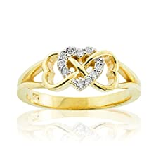 buy Solid 14K Yellow Gold Diamond Triple Heart Infinity Ring (Size 5.5)