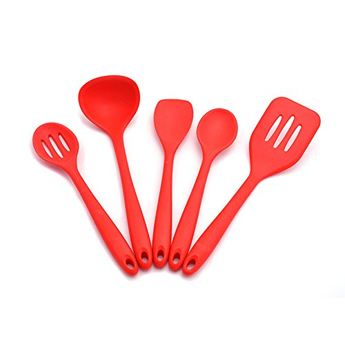 Silicone Kitchen Utensils Set ( 1 x Slotted Turner , 1 x Tea Spoon , 1 x Soup Ladle , 1 x Slotted Spoon , 1 x Salad Mixing Spoon) Heat Resistant Cooking & Baking Utensil Tool (Kitchenaid Dishwasher 104 compare prices)