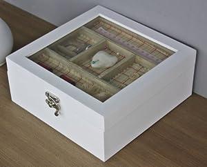 n hkasten n hk stchen wei holz landhaus glasdeckel schmuckkasten. Black Bedroom Furniture Sets. Home Design Ideas
