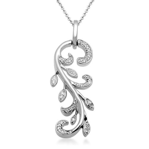 Sterling Silver Diamond Leaves Pendant Necklace (1/10 Cttw, I-J Color, I2-I3 Clarity). 18