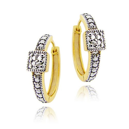 18K Gold over Sterling Silver Diamond Accent Square Design Hoop Earrings