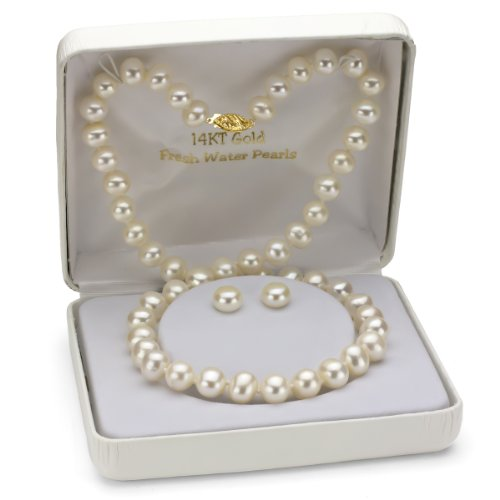 14K Yellow Gold 8-9mm White Freshwater Pearl