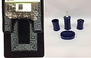 19 piece bath accessory set greek key navy for Navy bathroom accessory sets