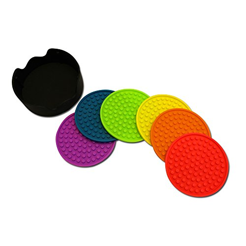 Premium Silicone Coasters by Feed the Need Kitchen, Multicolor, Durable, Non-Slip (6, Rainbow)