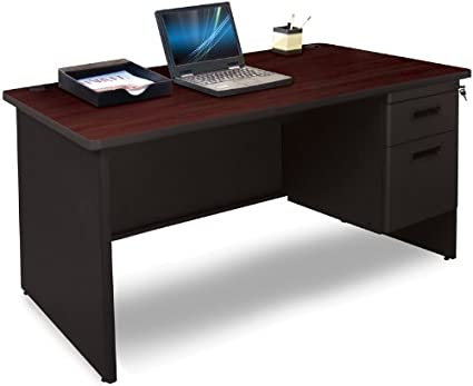 Pronto Pronto Single Pedestal Desk, 48W x 30D - Black Cherry Laminate and Black Finish