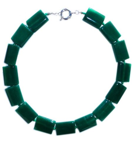 Necklace 45 cm lenght made up of dark green Jade