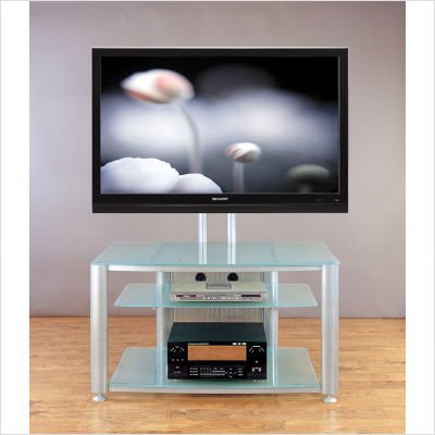 Black Frame and Clear Glass VTI HFR 403 Flat Panel TV Stand Screen Rack