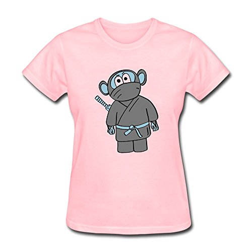 Women's Tshirts - Fashion Ninja Monkey Tshirt Pink Size L