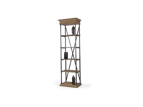 CAL FUSTER - Librería pequeña en madera de roble y estructura de hierro. Medidas totales: 230x70x44 cm.