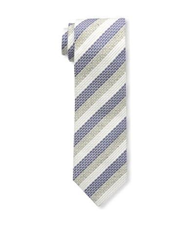 Borrelli Men's Striped Tie, White