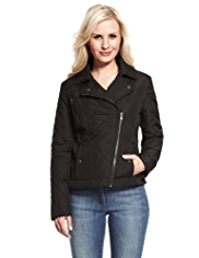Petite Quilted Biker Jacket with Stormwear™