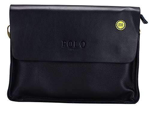 VIDENG POLO® Newest Men's Genuine Leather RFID Blocking Secure Briefcase Shoulder Messenger Bags (C2-black) image