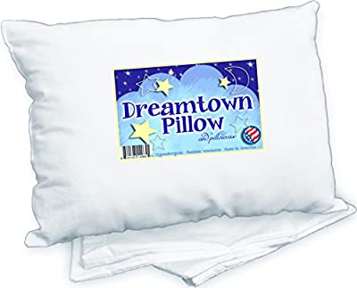 Toddler Pillow WITH PILLOWCASE by Dreamtown Kids. CHIROPRACTOR RECOMMENDED for Best Kids Neck Support. Great for Sleep or Travel. Hypoallergenic Cotton Blend, 14x19 in. Ages 2+ Made in the USA.