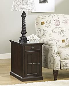 Signature Design by Ashley Power Chair Side End Table, Dark Brown