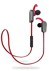 Jarv NMotion PLUS Sport Wireless Bluetooth 4.0 Stereo Earbuds w/ Built in Microphone and New Earfin Stabilizer Design - Red