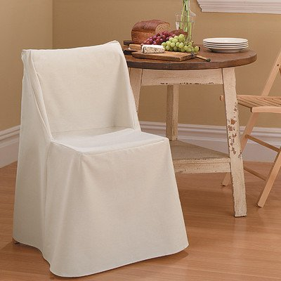 Cotton Duck Folding Chair Slipcover Color: Natural front-1035811