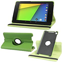 Gioiabazar 360 Degree Rotating Smart Leather Case Cover for Google Nexus 7 Tablet 2nd GEN 2013 Green