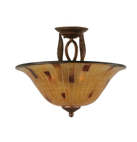 Toltec Lighting 210-BRZ-708 Leaf Three-Bulb Semi-Flush Mount Bronze Finish with Penshell Resin Shade, 16-Inch