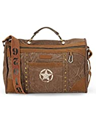 The House Of Tara Distress Finish Studded Duffle Bag (Acorn Brown)