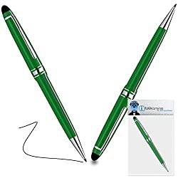 iTALKonline Doro Phone Easy 612 Green PRO Captive Touch Tip Stylus Pen with Rubber Tip with Roller Ball Pen