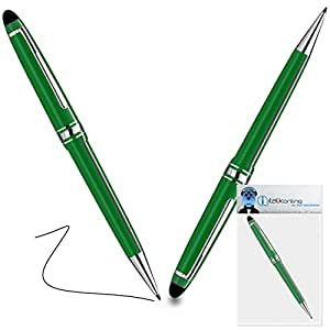 iTALKonline LG G Pad 7.0 Green PRO Captive Touch Tip Stylus Pen with Rubber Tip with Roller Ball Pen