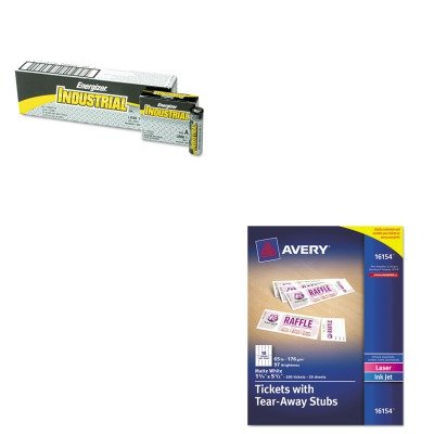 KITAVE16154EVEEN91 - Value Kit - Avery Printable Tickets w/Tear-Away Stubs (AVE16154) and Energizer Industrial Alkaline Batteries (EVEEN91) (Avery Printable Tickets compare prices)