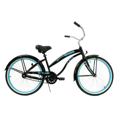 Women's Single Speed Aluminum Beach Cruiser Frame Color: Black with Baby Blue Wheels