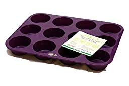 Premium 12 Cup Muffin Pan (Deep Plum) Non Stick Bakeware with BONUS RECIPE E-BOOKLET- 100% Silicone Baking Molds for All Recipes - Durable Mini Cake Pans/ Tart Pans/ Quiche Pans - Microwave and Oven Safe up to 450 deg F. LIFETIME Guarantee!
