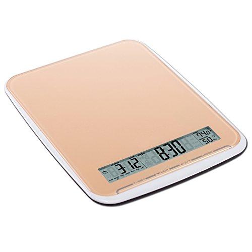 Balance de cuisine multifonction de XL avec surface en verre, pèse jusqu'à 10 kg, Touchbedienfeld, orange