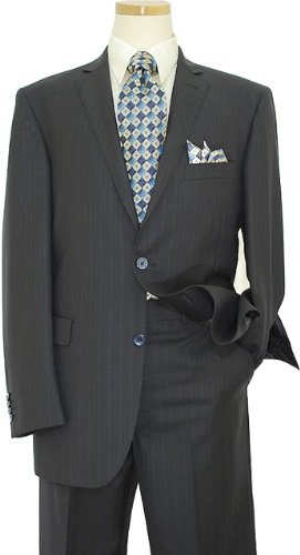 Elements by Zanetti Navy Blue Shadow Stripes Super 120's Wool Suit ZZ50172 (US 46L/Euro 56 - 40 in. Waist)