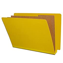 Yellow Classification Folders, End Tab, Pressboard, 2 Dividers, Legal Size, 10/Box