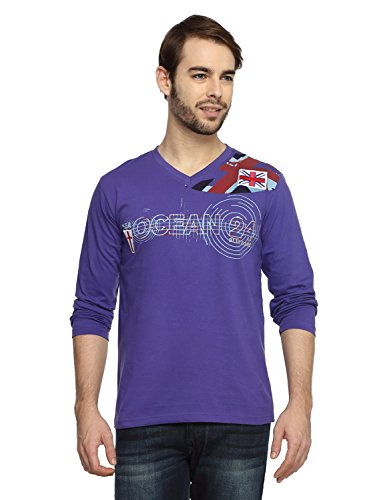 Teen Tees Men's Cotton Graphic Print Purple Colour Full Sleeves V Neck Tshirt