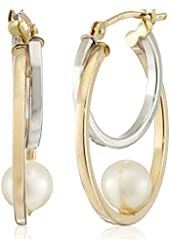 Aurapearl 10k Yellow Gold 5-6mm White Round Freshwater Cultured Pearl Two Tone Hoop Earrings