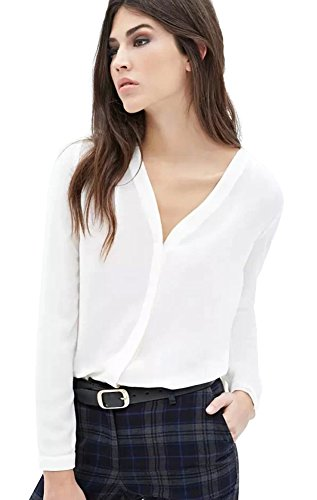 Womens V Neck Long Sleeve Ruffled Shoulder Solid Chiffon Blouse (Medium, White)