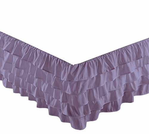 "Chezmoi Collection Ella 15"" Drop Multi Ruffle Bed Skirt, Lilac, Queen"