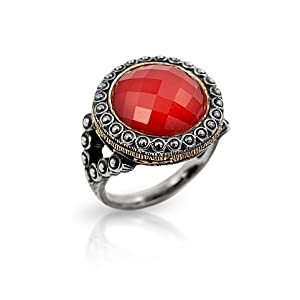 Signature Authentico Red Coral Faceted Round Ring, Size 6 by Signature+Collection+by+Alan+K.