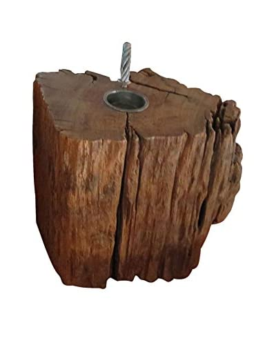 Reclaimed Organic Teak Wood Tea Light Holder, Natural As You See