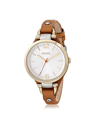 Fossil Women's ES3565 Georgia Gold-Tone Stainless Steel Watch with Brown Leather Band