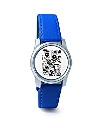 BigOwl Is It A Car Or A Cat Painting Analog Men's Wrist Watch 2114884536-RS2-S-BLU