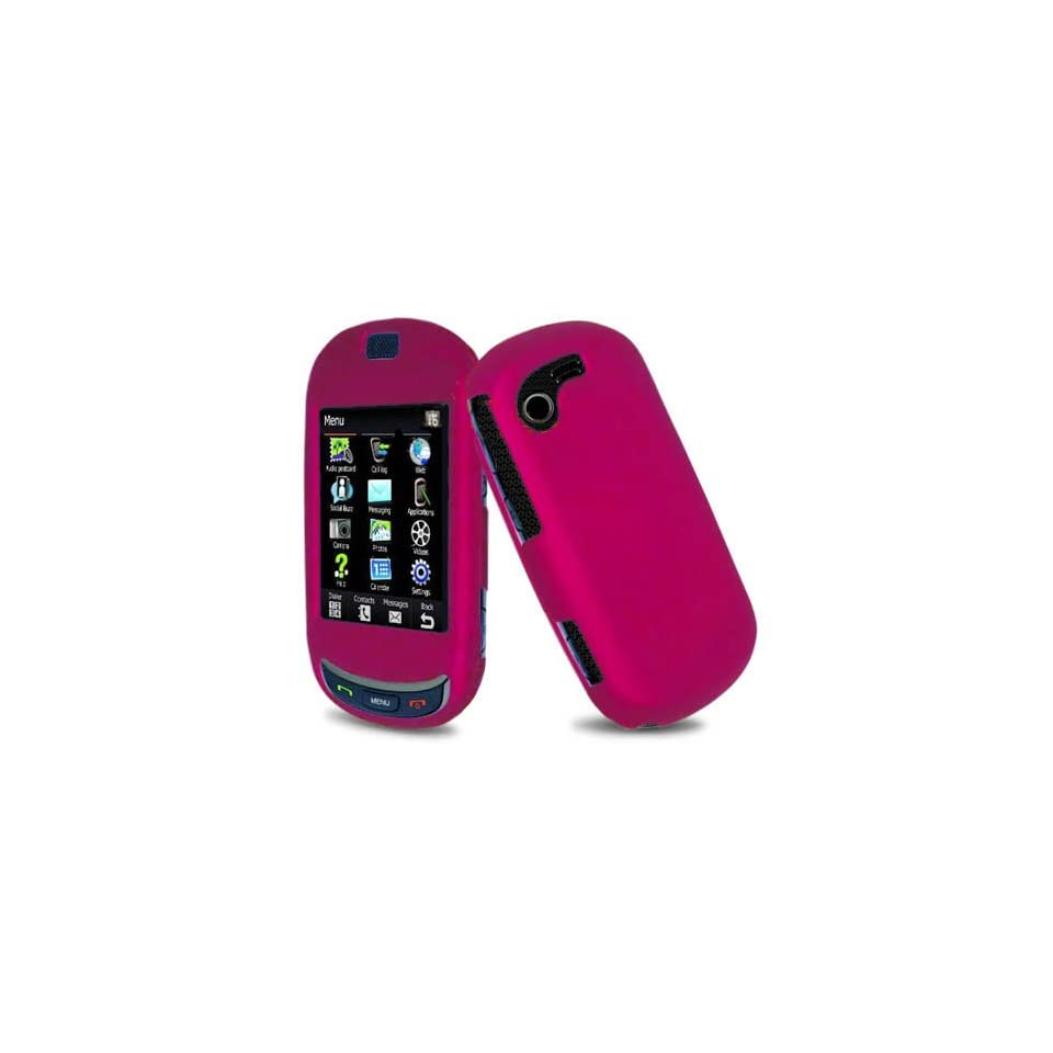 Hard Plastic Snap on Cover Fits Samsung T669 Gravity Touch Solid Rose Pink (Rubberized) T Mobile Cell Phones & Accessories